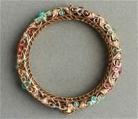 14K Gold Rubies Sapphires Emeralds Bangle Bracelet