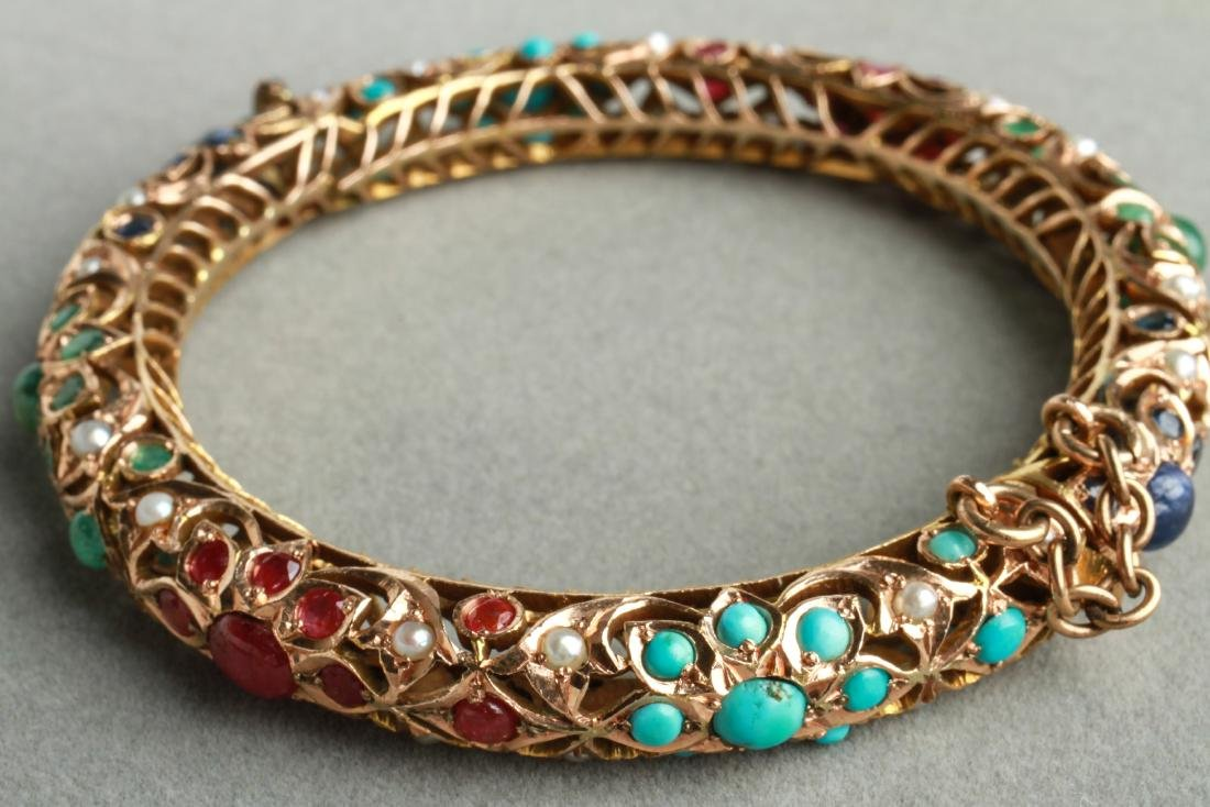 14K Gold Rubies Sapphires Emeralds Bangle Bracelet - 4