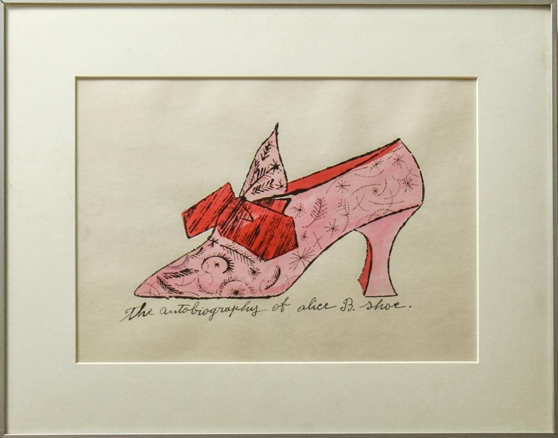"Andy Warhol ""Alice B. Shoe"" Watercolor Lithograph"