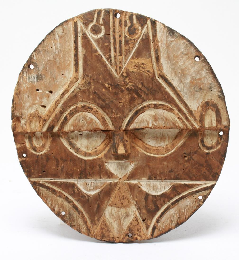 African Congo Bateke Flat Mask Carved Wood