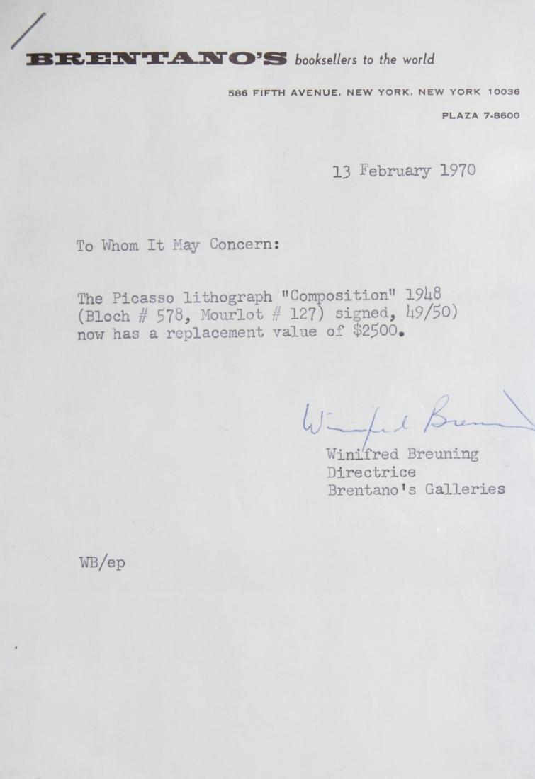 """Pablo Picasso """"Composition"""" Lithograph 1948 - 2"""