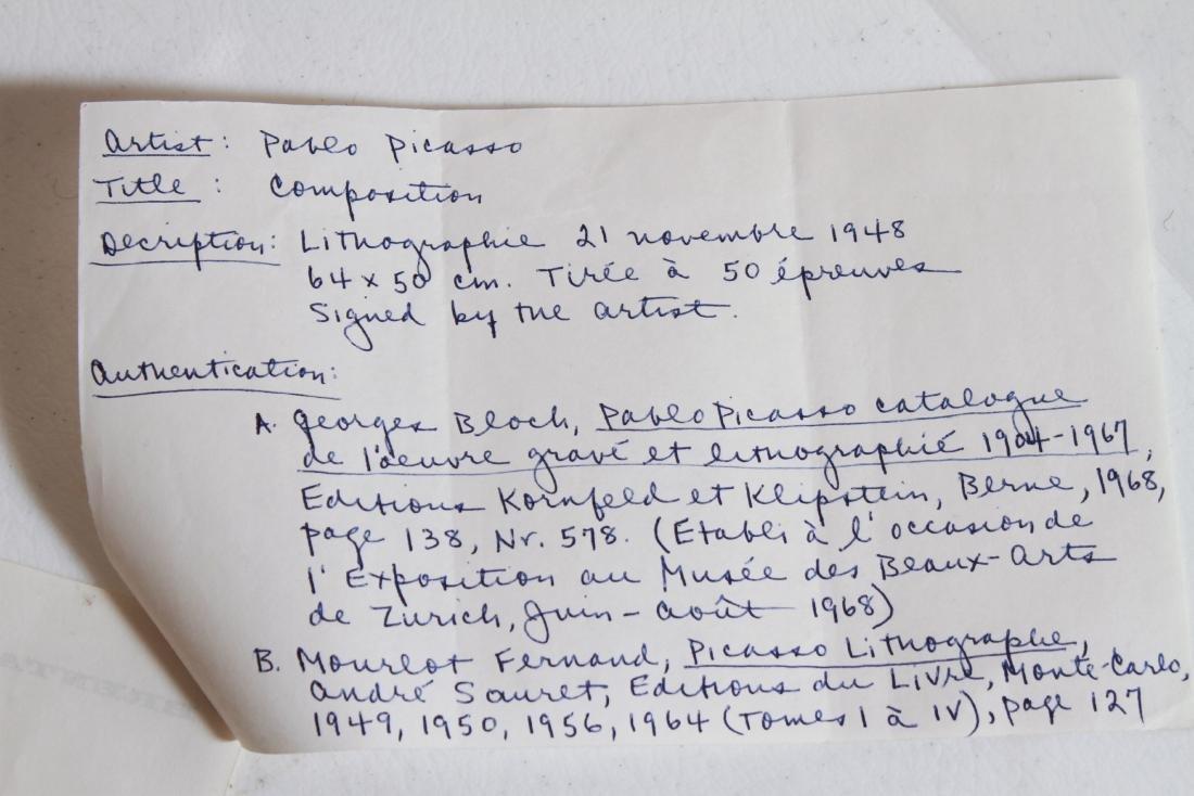 """Pablo Picasso """"Composition"""" Lithograph 1948 - 5"""