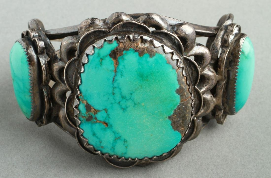 Navajo Indian Old Pawn Silver & Turquoise Cuff