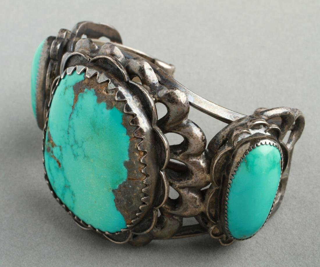 Navajo Indian Old Pawn Silver & Turquoise Cuff - 2