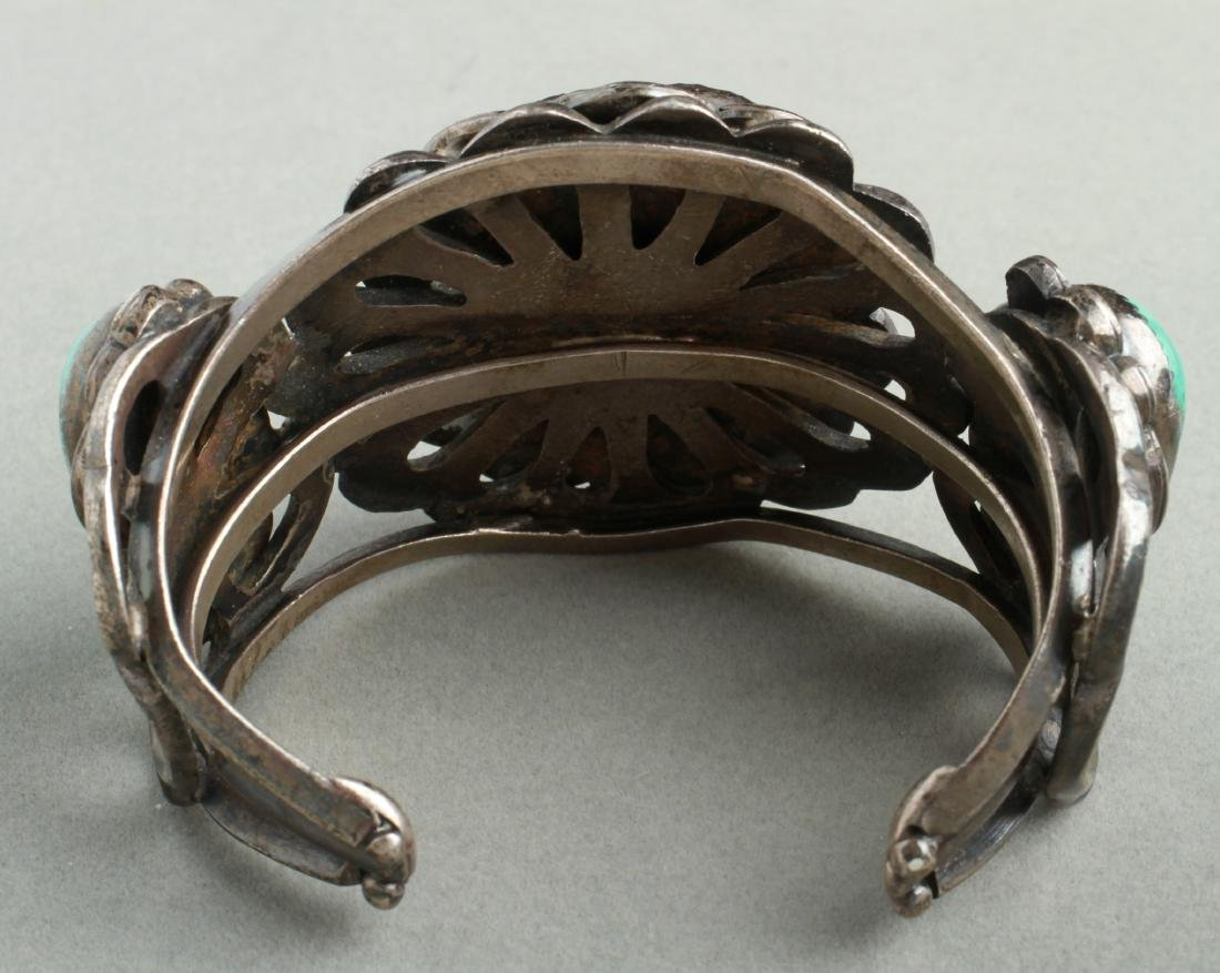 Navajo Indian Old Pawn Silver & Turquoise Cuff - 3