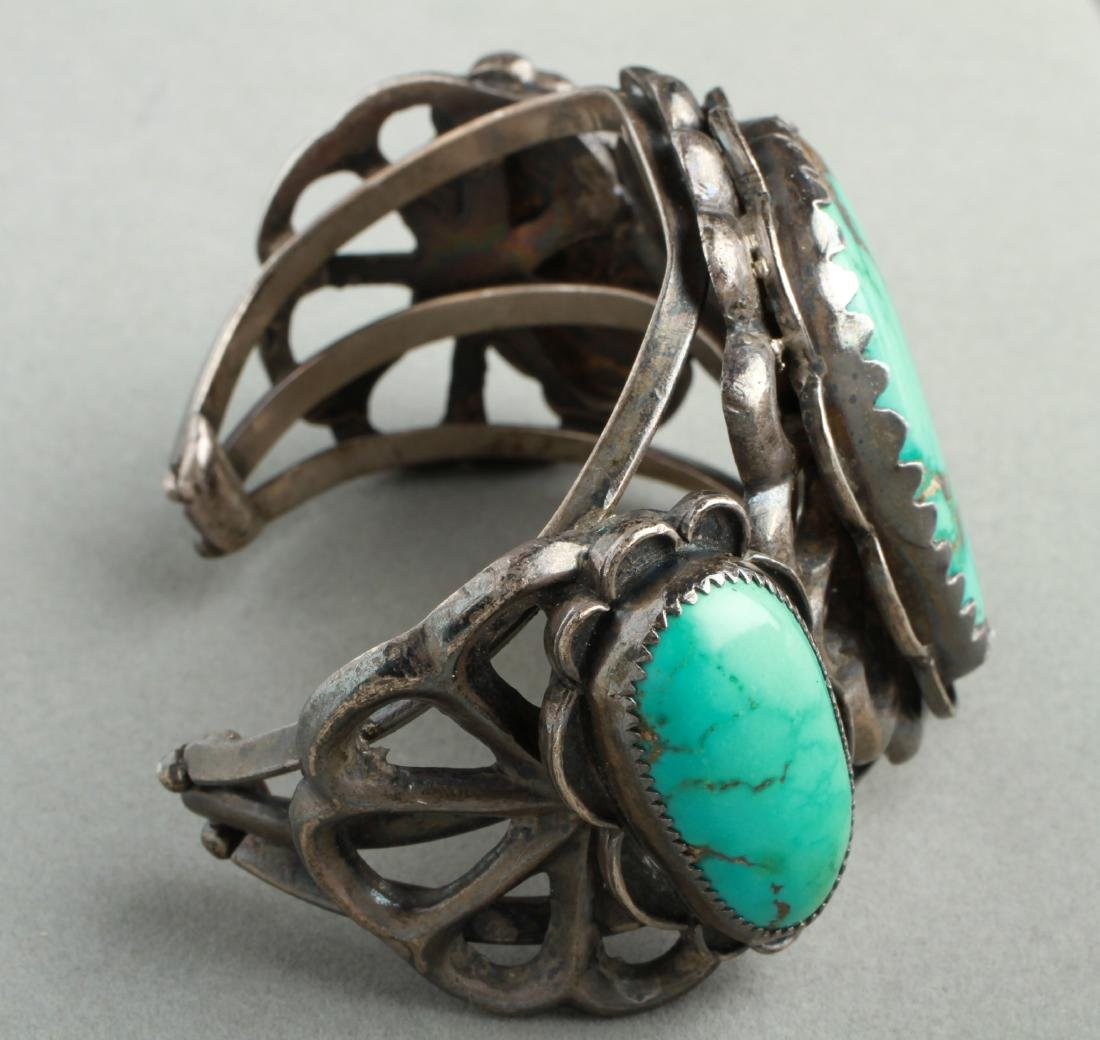 Navajo Indian Old Pawn Silver & Turquoise Cuff - 4