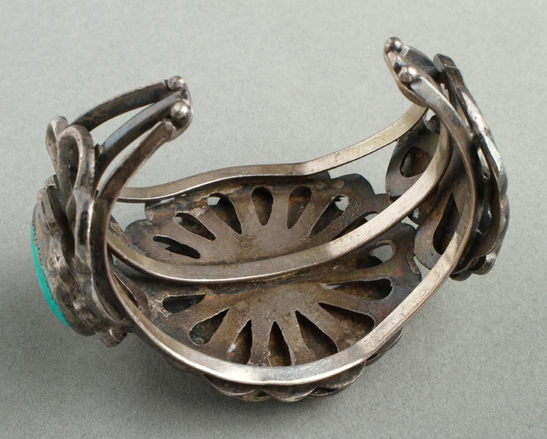 Navajo Indian Old Pawn Silver & Turquoise Cuff - 5