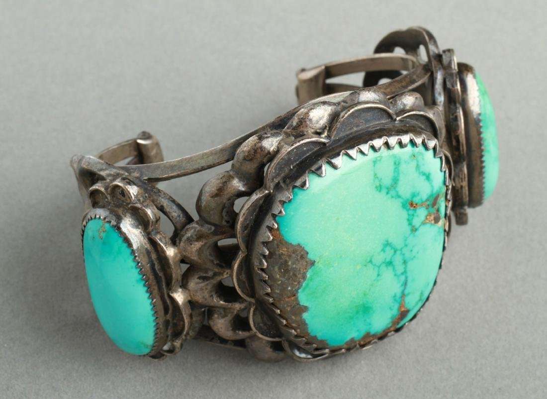 Navajo Indian Old Pawn Silver & Turquoise Cuff - 6