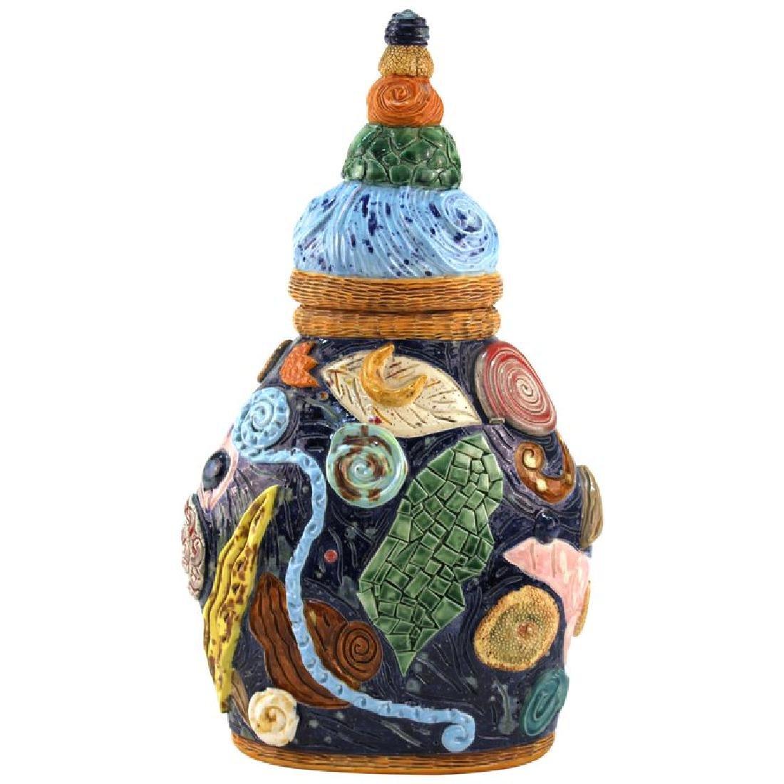 Postmodern Memphis Manner Art Pottery Covered Urn