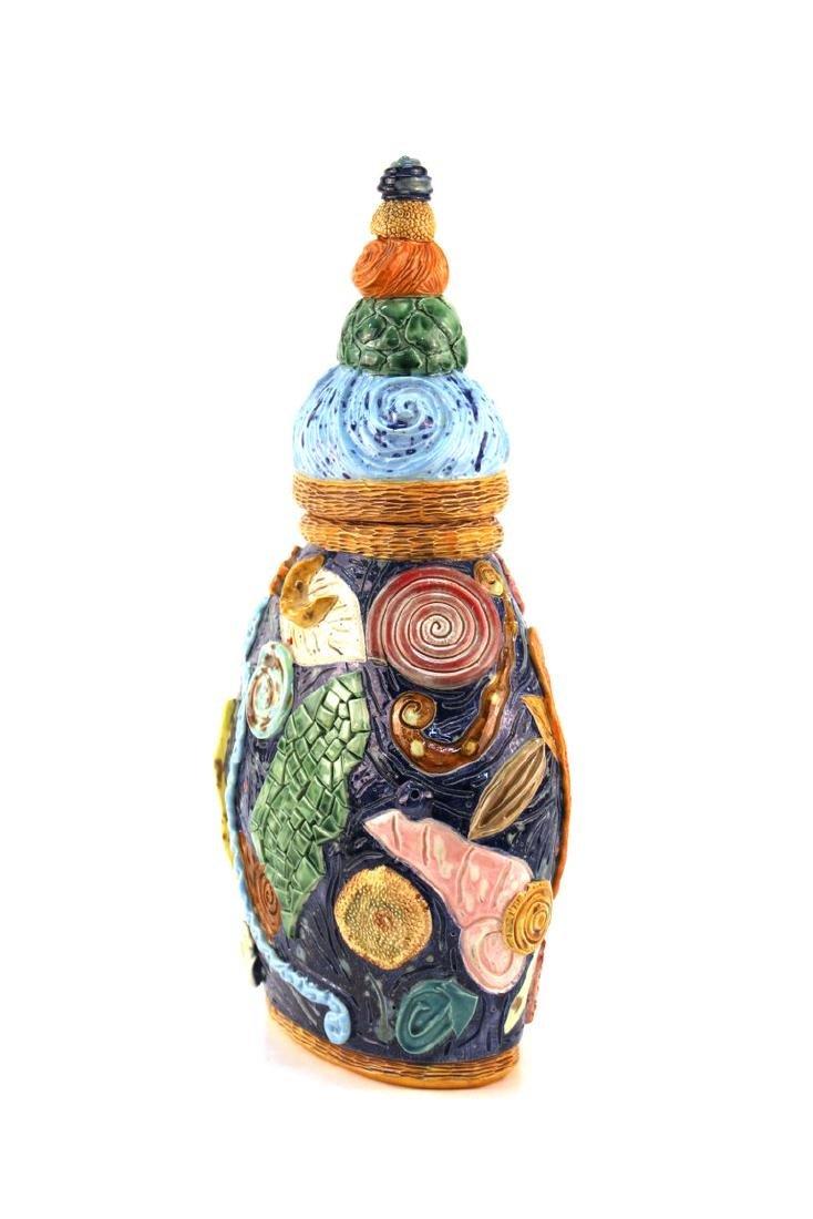 Postmodern Memphis Manner Art Pottery Covered Urn - 2