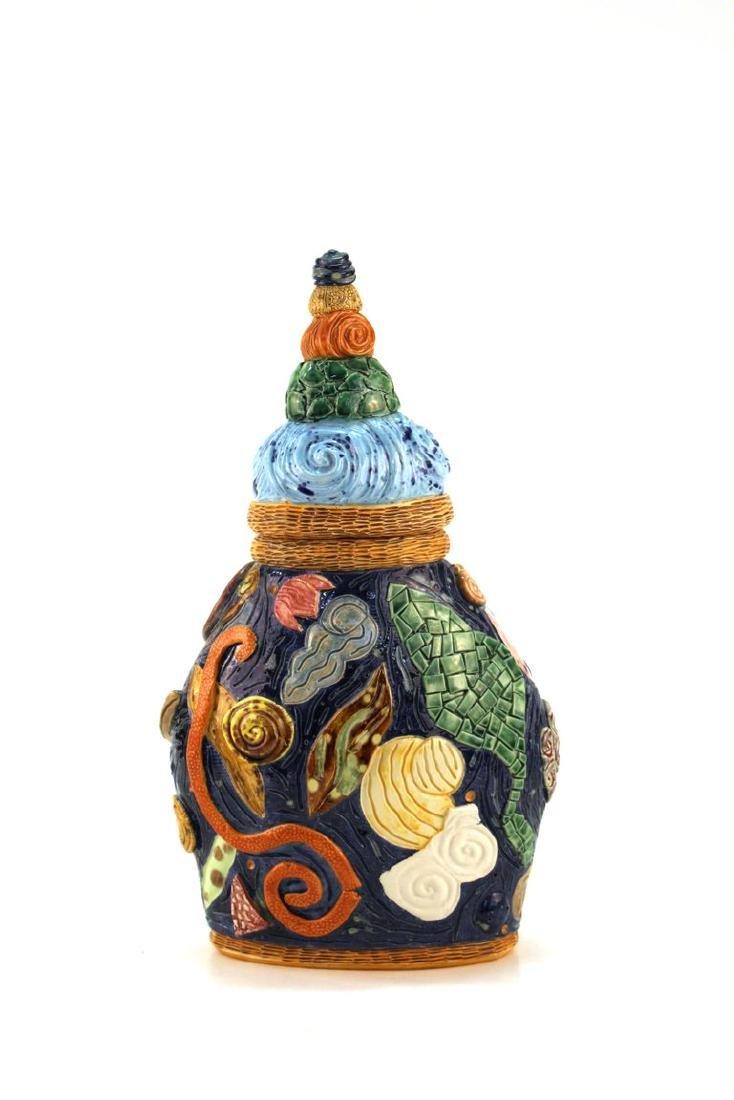 Postmodern Memphis Manner Art Pottery Covered Urn - 4