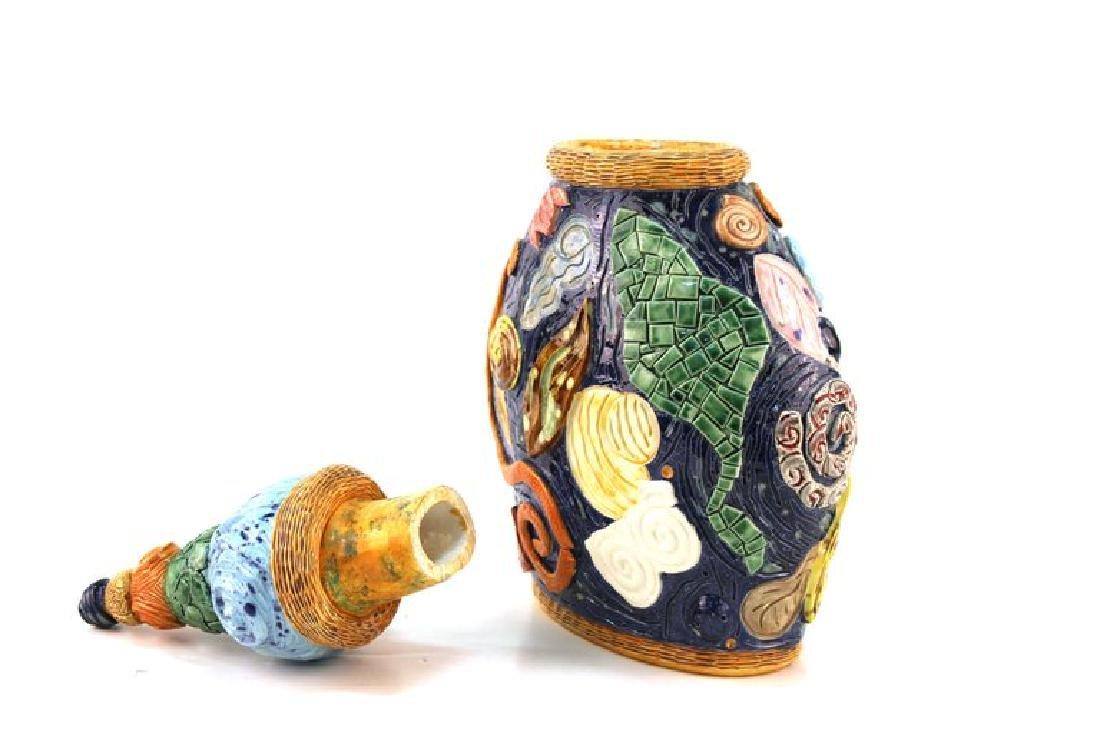 Postmodern Memphis Manner Art Pottery Covered Urn - 6
