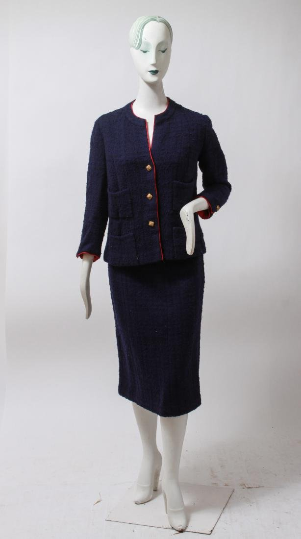 Chanel Navy Blue Wool Suit with Skirt