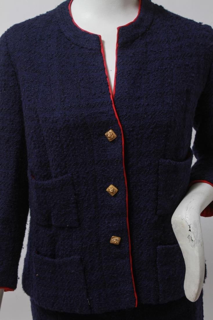 Chanel Navy Blue Wool Suit with Skirt - 2