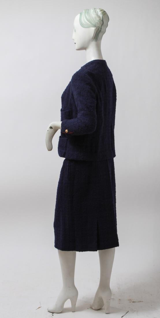 Chanel Navy Blue Wool Suit with Skirt - 3