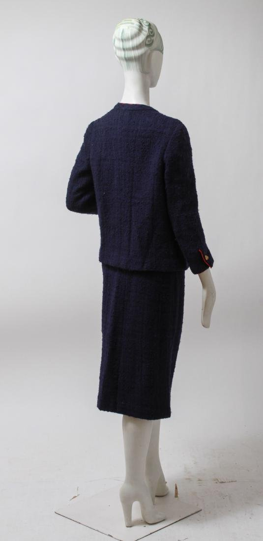 Chanel Navy Blue Wool Suit with Skirt - 4