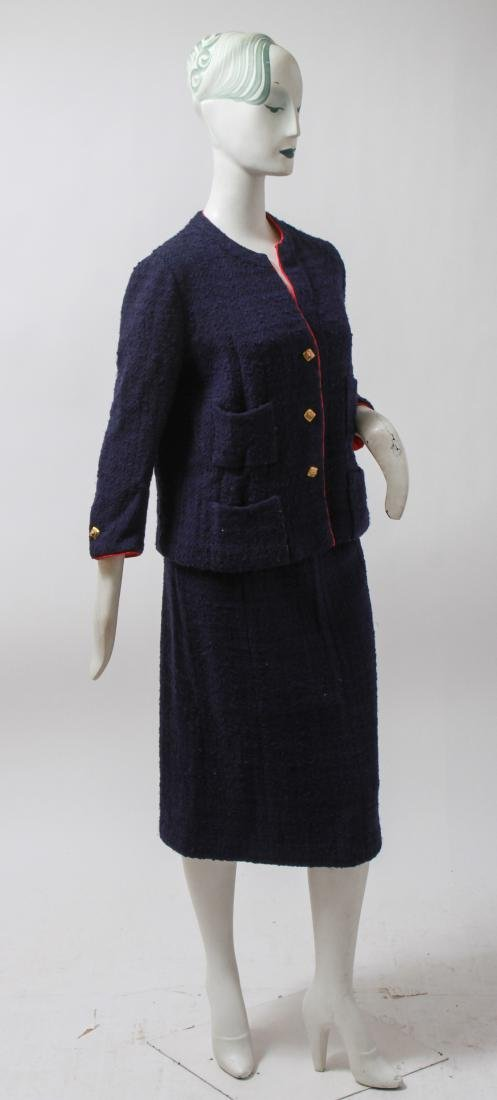 Chanel Navy Blue Wool Suit with Skirt - 5