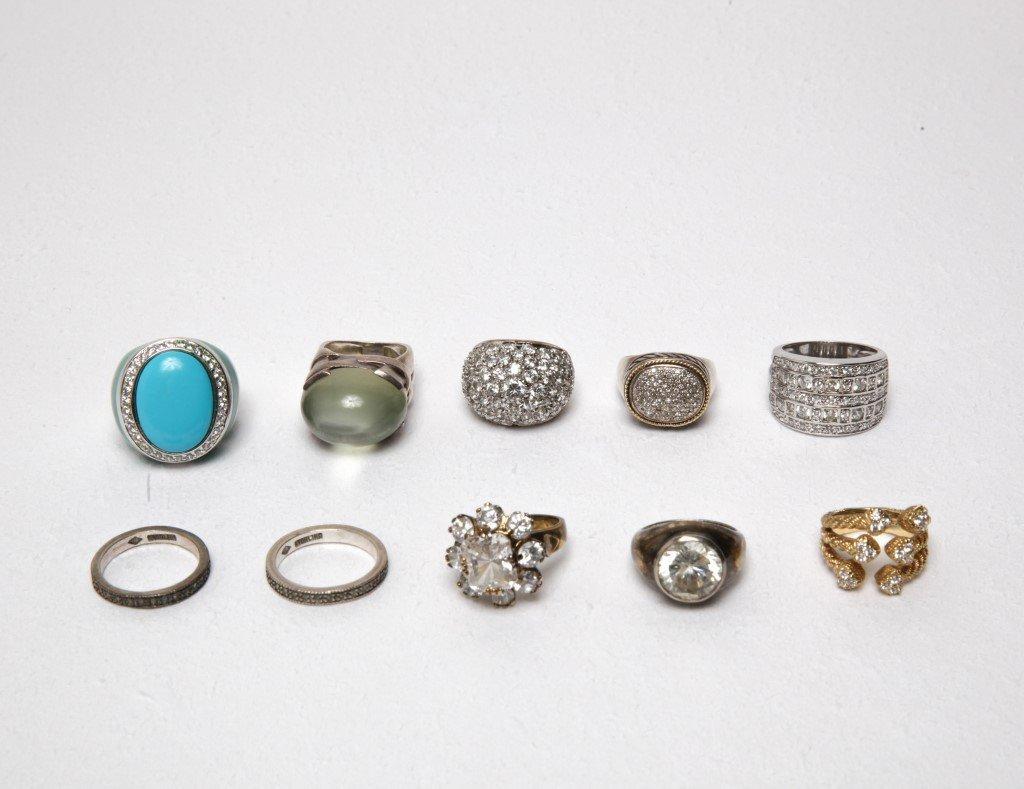 Ladies' Costume Jewelry Sterling Rings Group of 10