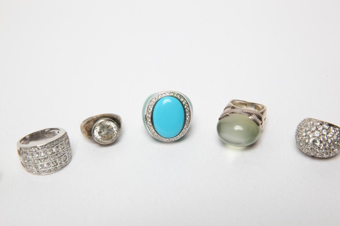 Ladies' Costume Jewelry Sterling Rings Group of 10 - 3