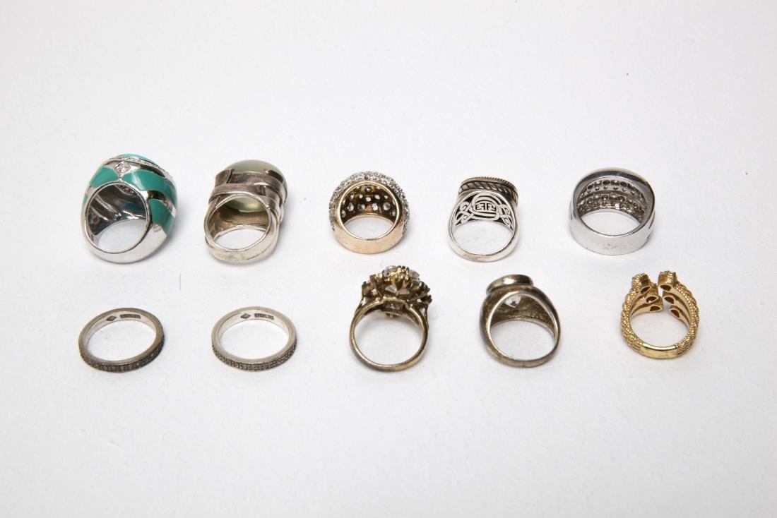 Ladies' Costume Jewelry Sterling Rings Group of 10 - 6