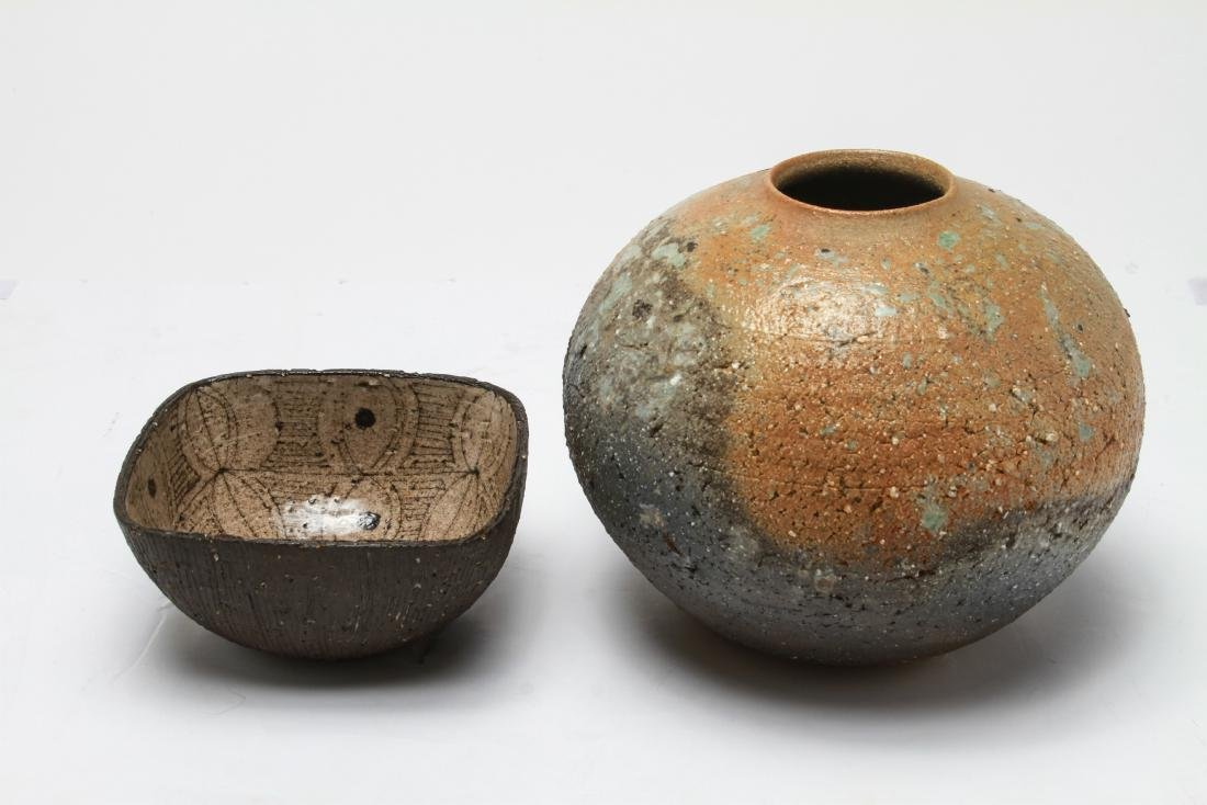 Contemporary Art Pottery Vase & Bowl, Two