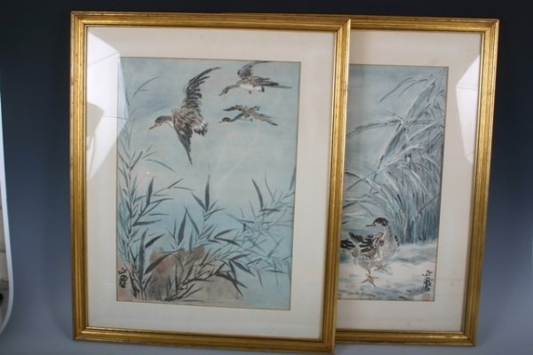 1: Pair 20th C Handpainted Framed Chinese Paintings