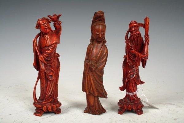 4: 3 19th C Chinese Boxwood Figurines