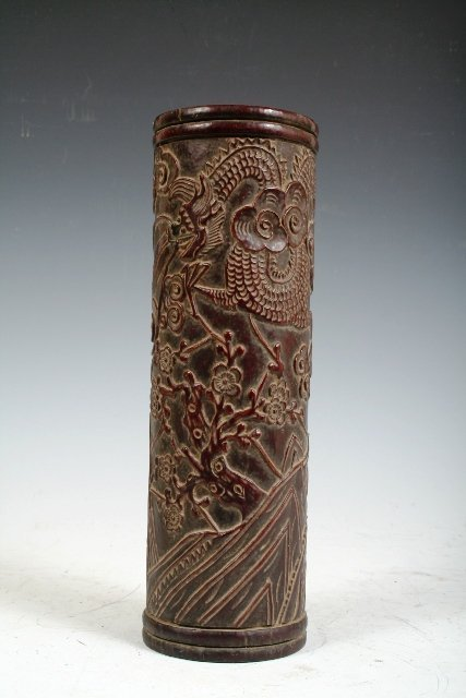5: Large 18th/19th C Chinese Carved Bamboo Brush Pot