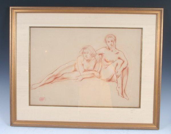 12: Russian American N.V Haritonoff Nude Drawing 1920
