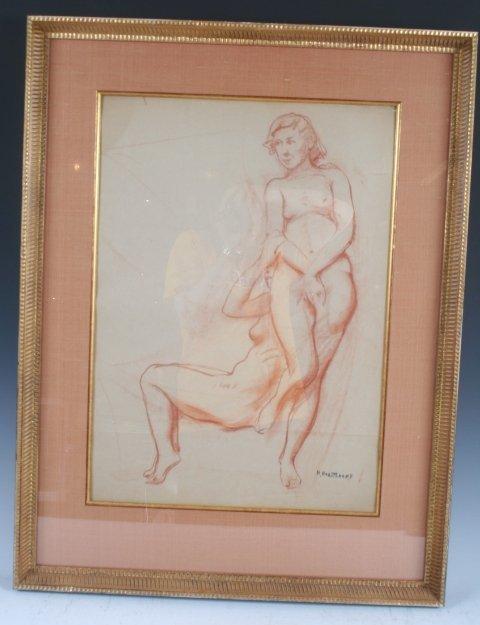 13: Russian American N.V Haritonoff Nude Drawing 1920