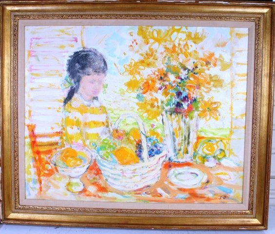 14: L. Gilmour Jr. Girl with Flowers Painting