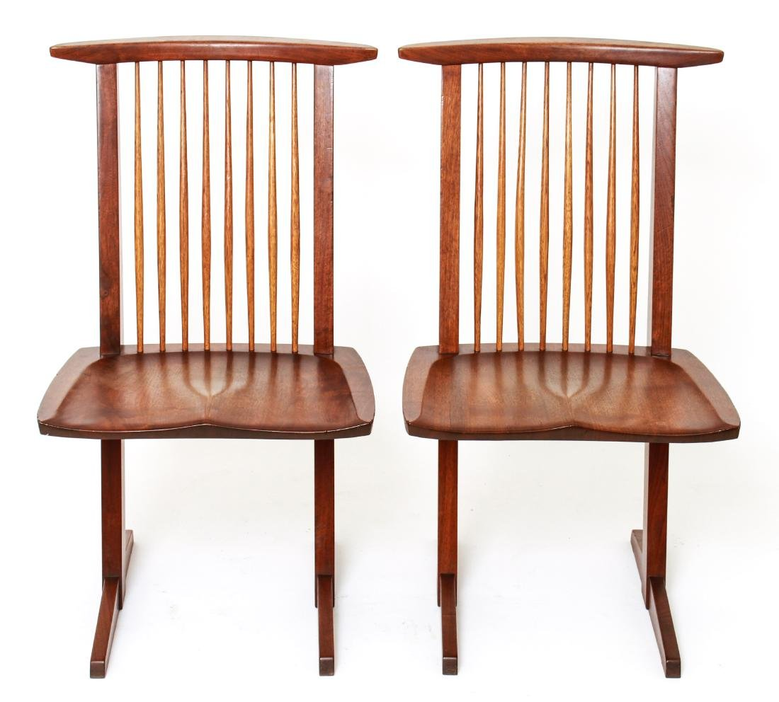 George Nakashima 'Conoid' Walnut Chairs, Pair