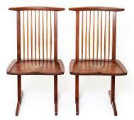 George Nakashima 'Conoid' Walnut Chairs, Pair