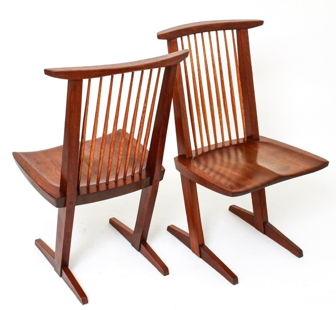 George Nakashima 'Conoid' Walnut Chairs, Pair - 3