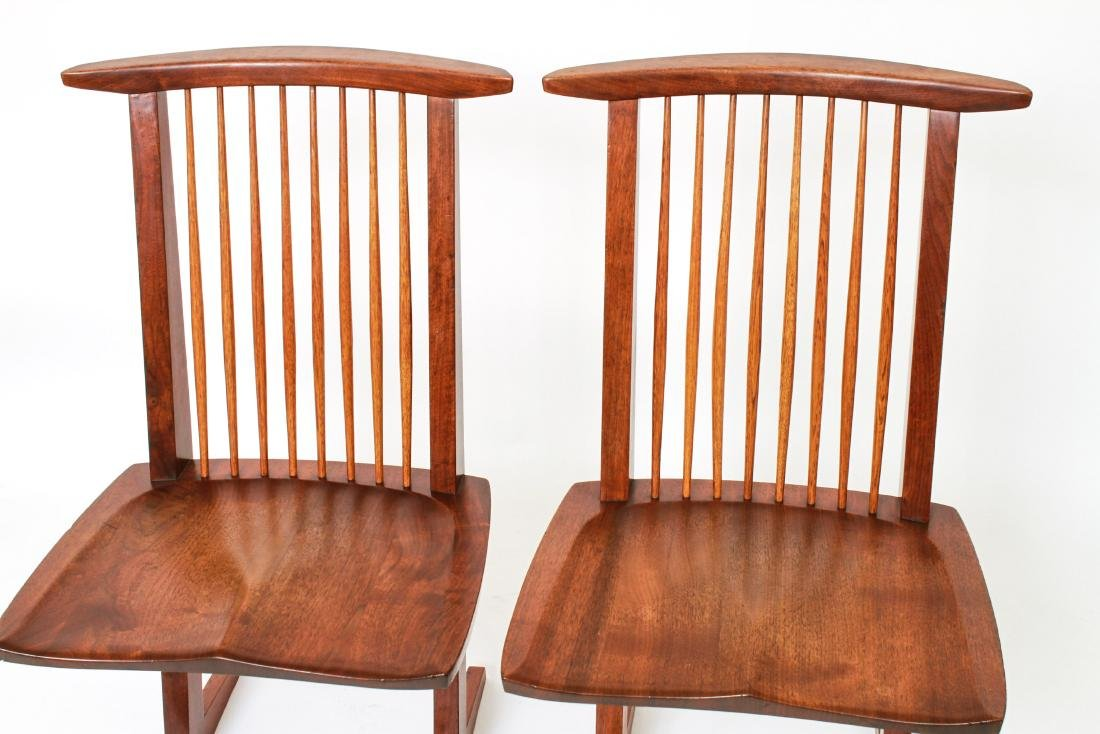 George Nakashima 'Conoid' Walnut Chairs, Pair - 8