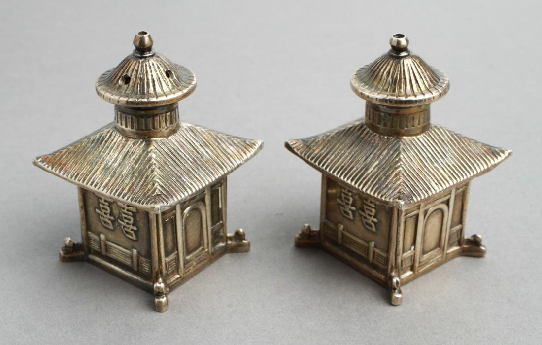 Thistle & Bee Silver Pagoda Salt & Pepper Shakers