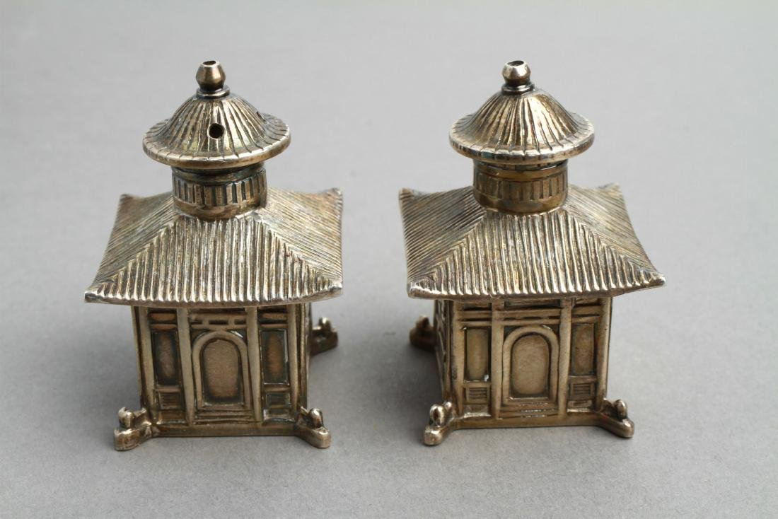Thistle & Bee Silver Pagoda Salt & Pepper Shakers - 2