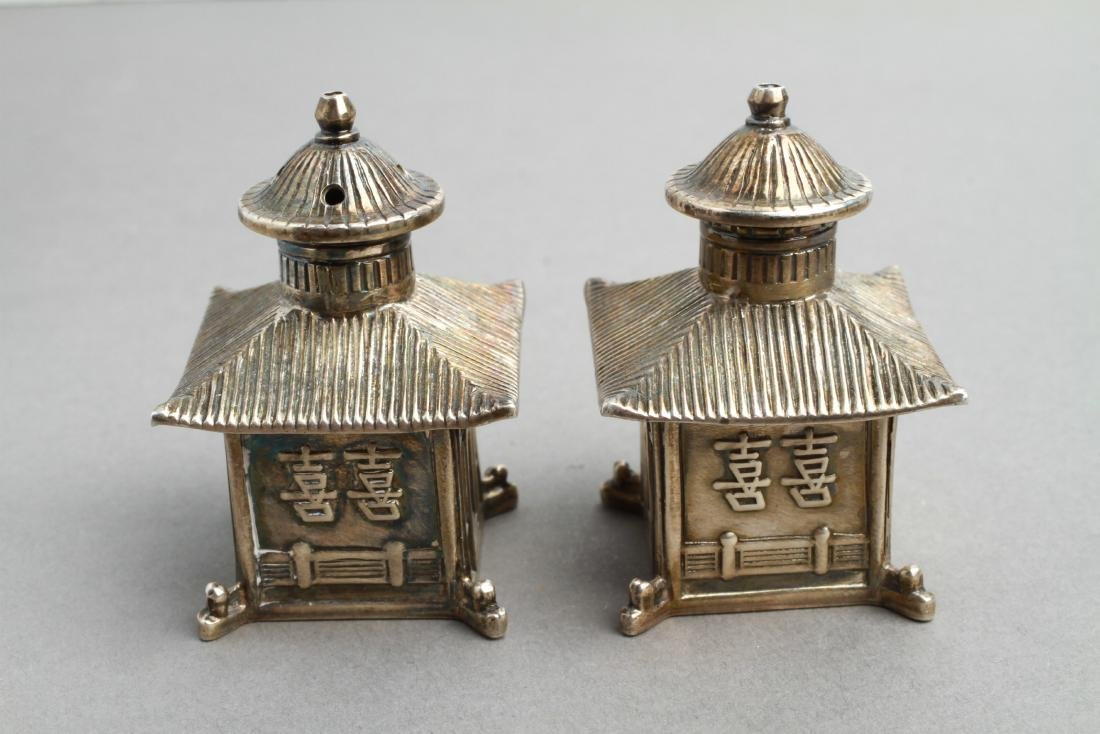 Thistle & Bee Silver Pagoda Salt & Pepper Shakers - 3