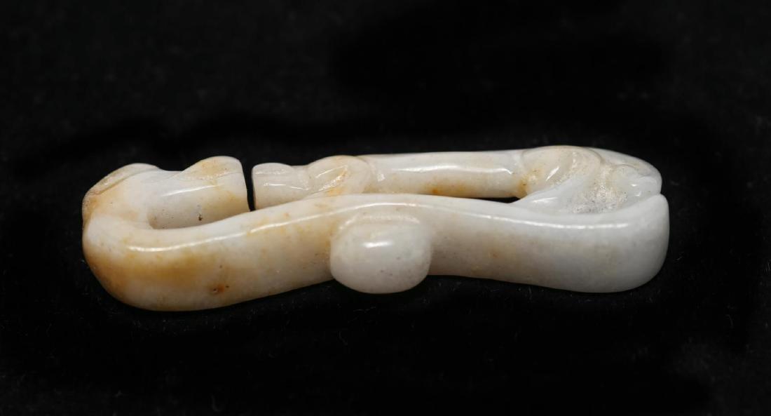 Chinese Jade Belt Buckle Carved Jadeite - 4