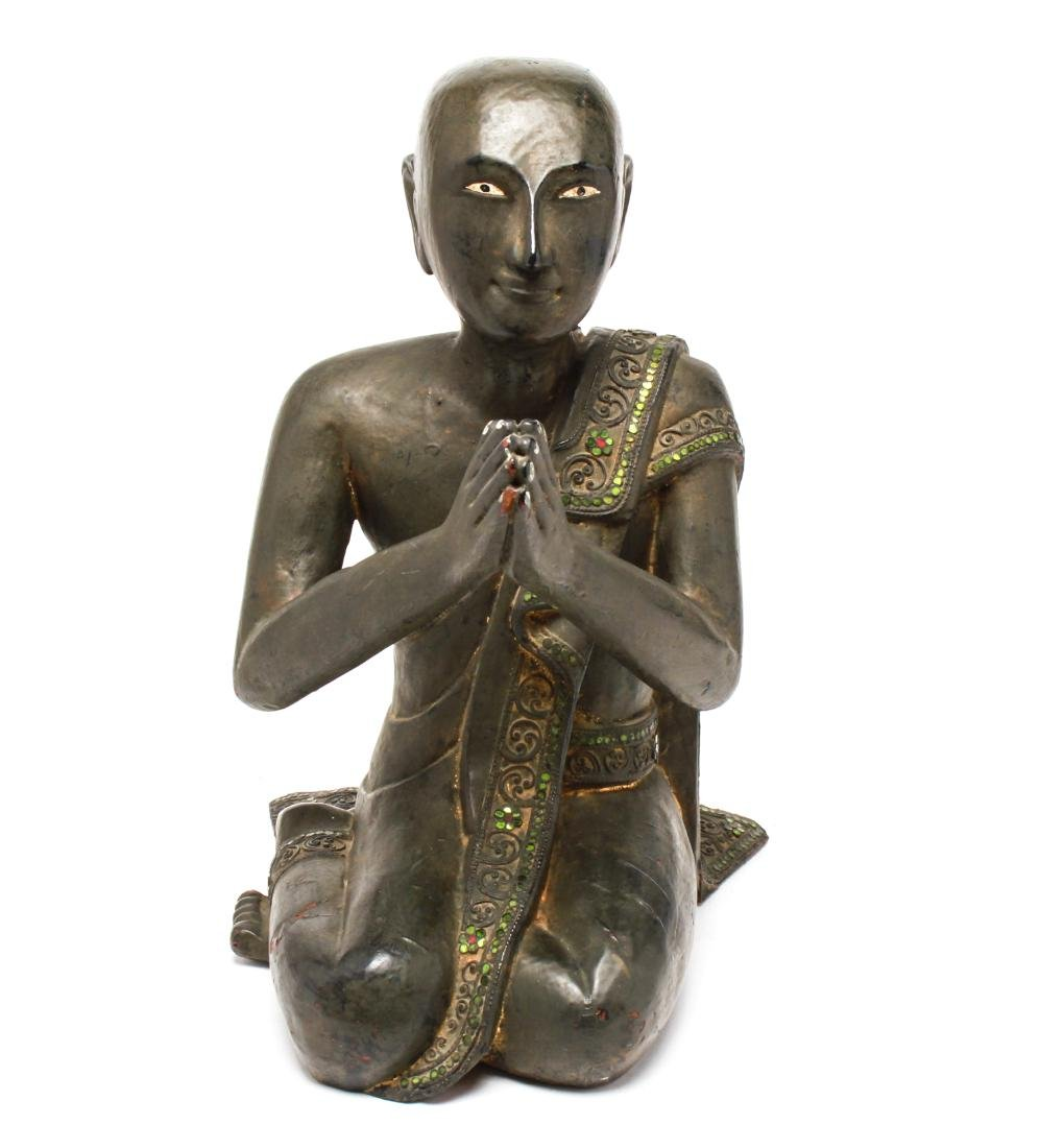 Southeast Asian Carved Wood Praying Figure