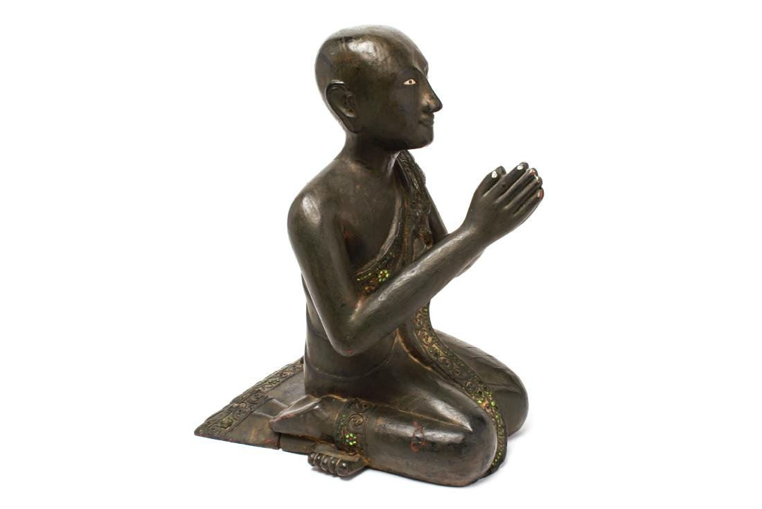 Southeast Asian Carved Wood Praying Figure - 5
