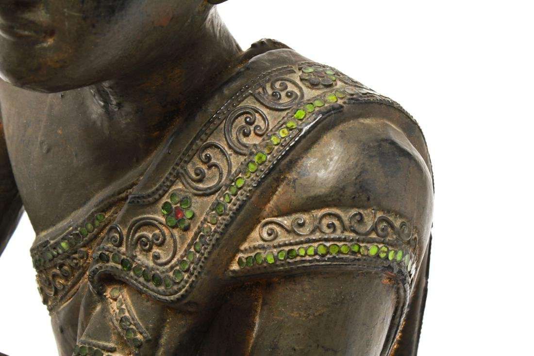Southeast Asian Carved Wood Praying Figure - 7
