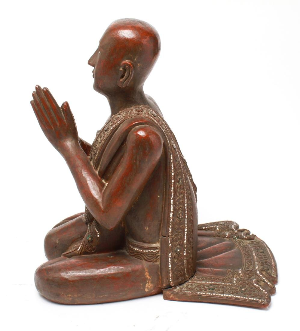 Southeast Asian Carved Wood Praying Figure - 2