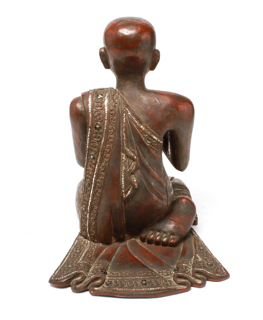 Southeast Asian Carved Wood Praying Figure - 4