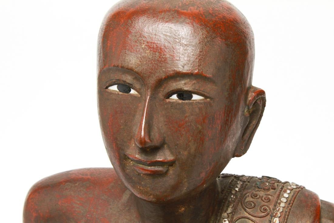 Southeast Asian Carved Wood Praying Figure - 6