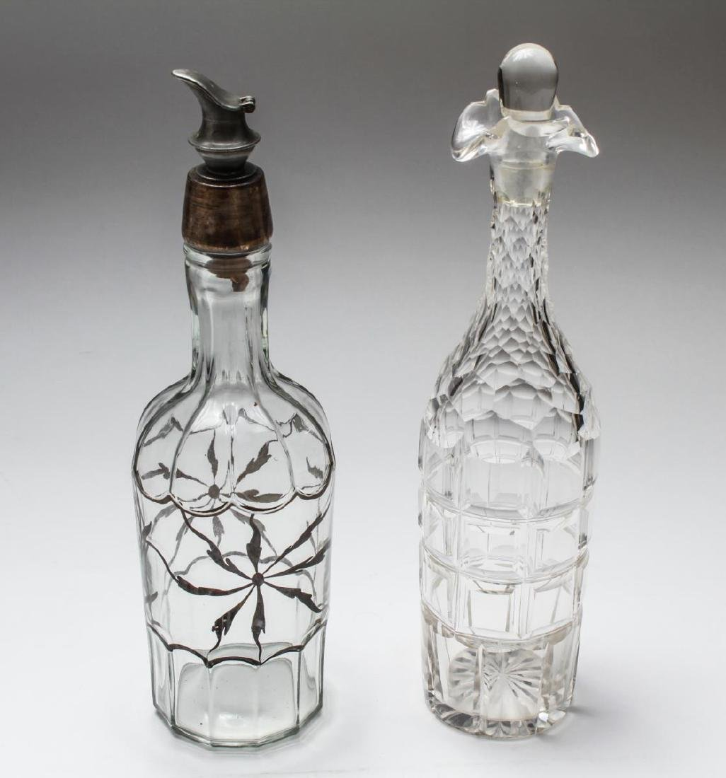 Colorless Glass Decanters Incl. Silver Overlay, 2