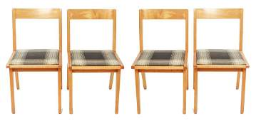 Risom for Knoll Mid-Century Modern Side Chairs, 4