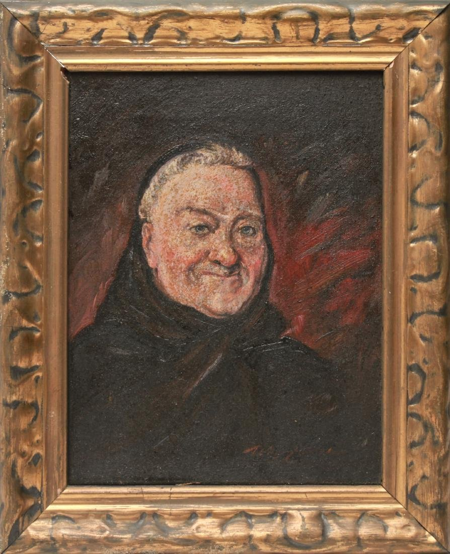 Illegibly Signed Portrait of Man Oil on Canvas