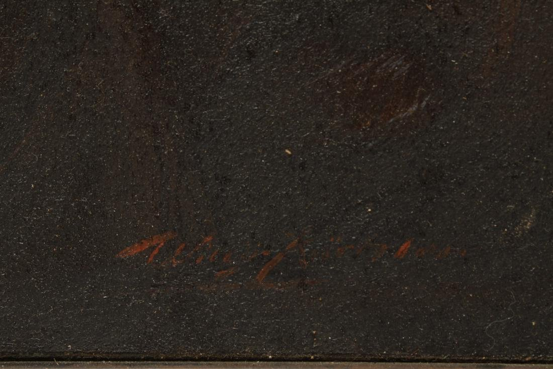 Illegibly Signed Portrait of Man Oil on Canvas - 2
