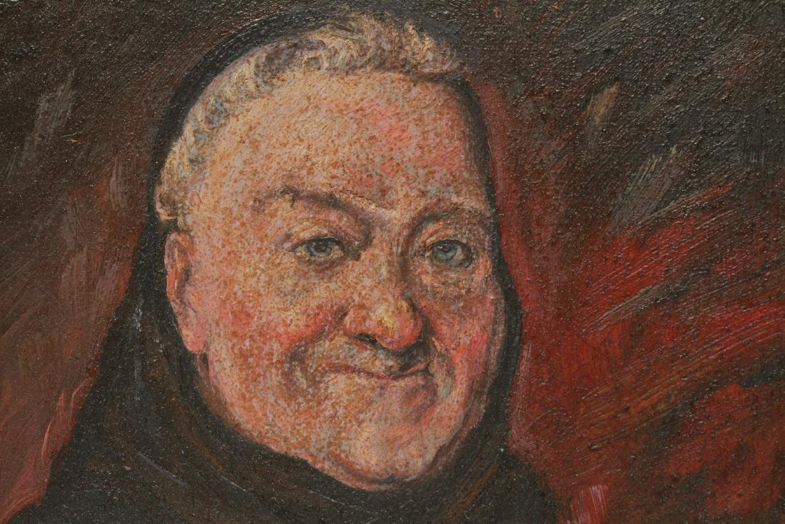 Illegibly Signed Portrait of Man Oil on Canvas - 3